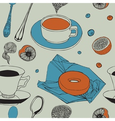 Seamless background with tea Breakfast vector image