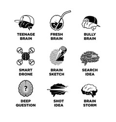 set of different brain sketches vector image vector image
