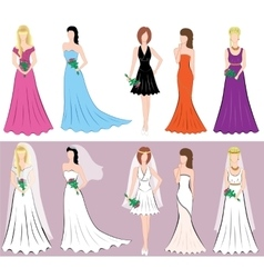 Set of different styles women dresses vector image vector image
