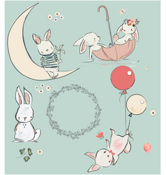 set with cute hares vector image vector image