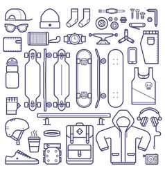 skateboard equipment line set vector image vector image