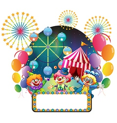 Three clowns in front of a carnival with an empty vector image