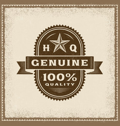 Vintage genuine 100 percent quality label vector