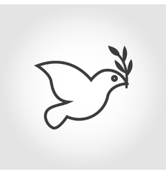 white dove icon on grey background vector image