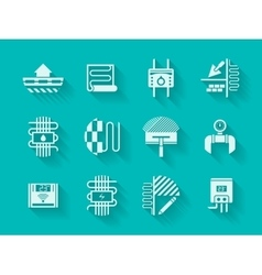 White modern icons for house heating vector image vector image