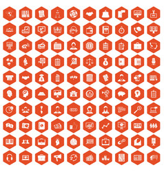 100 business people icons hexagon orange vector