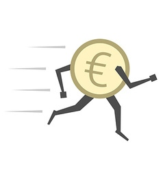 Euro coin running isolated vector