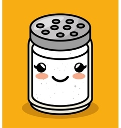 Cute kawaii salt meal vector