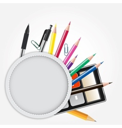School theme background with different tools vector