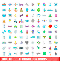 100 future technology icons set cartoon style vector image