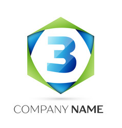 number three symbol in colorful hexagonal vector image