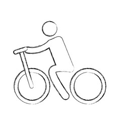 Silhouette of athlete practicing cycling vector