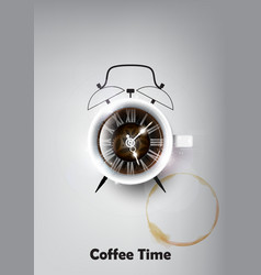 A realistic cup of black coffee coffee time vector