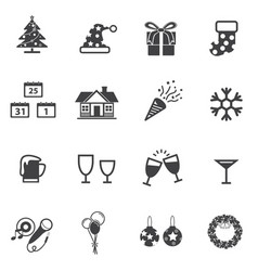 Christmas and new year party icon set vector