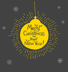 Holiday and christmas hand drawing greeting card vector