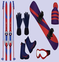 Winter sport accessories vector