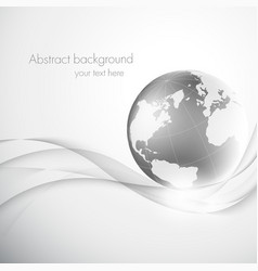 Abstract gray background with globe vector image