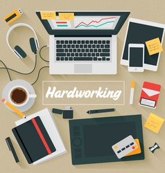 Trendy Flat Design Hardworking vector image
