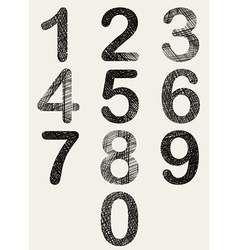 Hand drawn and sketched numbers set vector