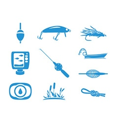 Collection of fishing icons vector