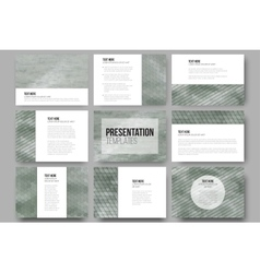 Set of 9 templates for presentation slides sea vector