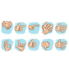 Doodle hand sign icons vector