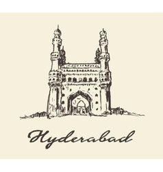 Hyderabad india charminar drawn sketch vector