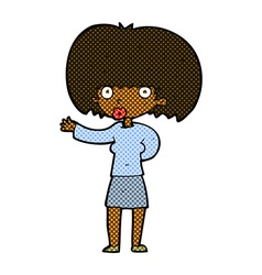 Comic cartoon woman gesturing vector