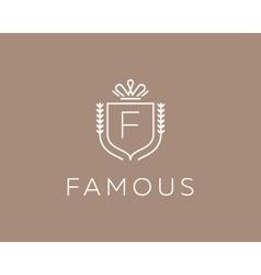 Elegant monogram letter f logotype premium crest vector