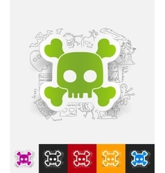 Skull paper sticker with hand drawn elements vector