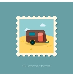 Camping trailer stamp summer vacation vector