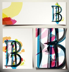 Artistic greeting card letter b vector