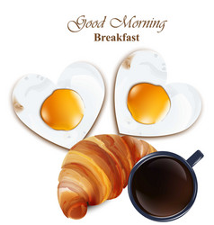 Breakfast cofee cup croissant and vector