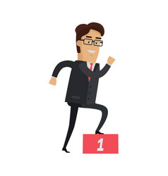Businessman going up on the winners podium vector