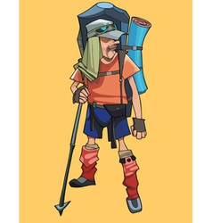 Cartoon male traveler in a tourist outfit vector