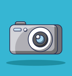 cartoon photo camera device technology lens flash vector image
