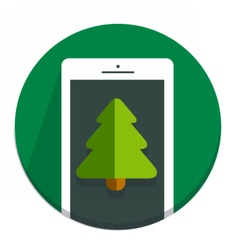 Circle christmas icon flat tree vector