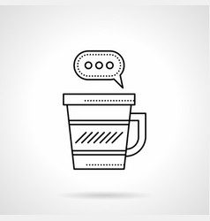 coffee break chat flat line icon vector image