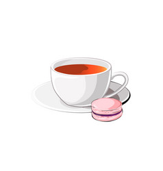 cup of tea with macaron vector image vector image