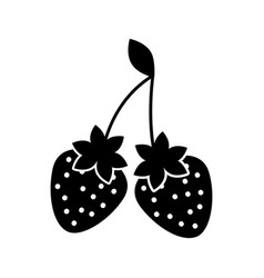 delicious two strawberry fruit leaves organic vector image