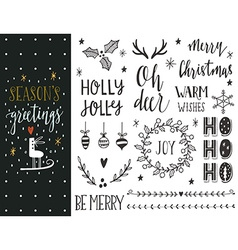 Hand drawn Christmas holiday collection vector image