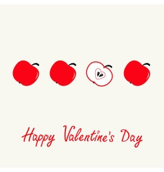 Happy Valentines Day Love card Red apple set in a vector image