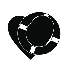 Heart with lifeline black simple icon vector image vector image