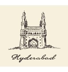 Hyderabad india charminar drawn sketch vector