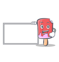 Ice cream character cartoon with board vector
