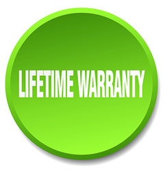 lifetime warranty green round flat isolated push vector image vector image