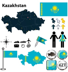 Map of kazakhstan vector
