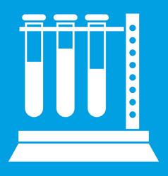 Medical test tubes in holder icon white vector