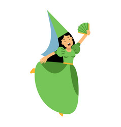 medieval actress girl character in a green dress vector image vector image