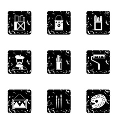 Paint drawing icons set grunge style vector